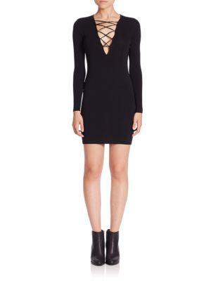 Long Sleeve Lace-Up Sheath Dress