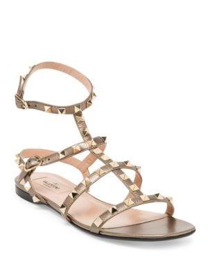 Rockstud Metallic Leather Flat Sandals
