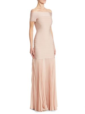 Off-The -Shoulder Pleated-Hem Bandage Gown