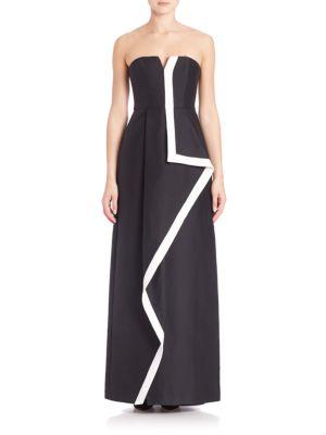 Cotton & Silk Strapless Structured Gown