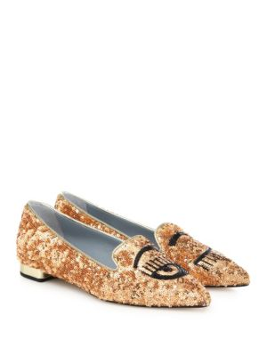 Flirting Metallic Sequin Point-Toe Flats