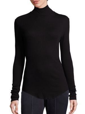 Ribbed Supima Cotton Blend Turtleneck Sweater