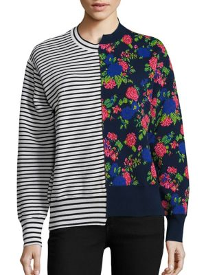Striped & Floral Hybrid Sweater by MSGM