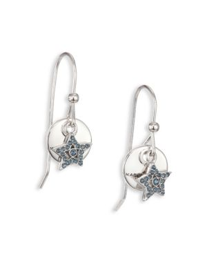 marc jacobs female 45900 mj coin crystal pave star drop earrings