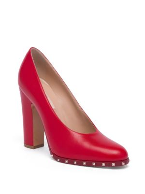 Soul Stud Leather Block-Heel Pumps
