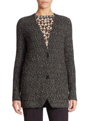Cotton Boucle Knit Cardigan