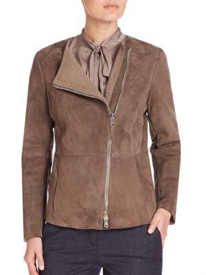 Collarless Shearling Moto Jacket