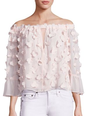 Love Conquer 3D Flower Off-the-Shoulder Top
