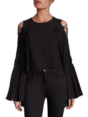 A Love Like That Lace Up Sleeve Cold Shoulder Top