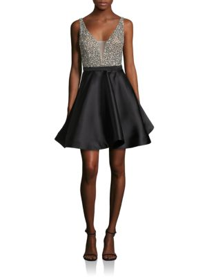 Embellished V-Back Fit-&-Flare Dress