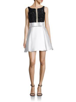 V-Back Embellished Fit-&-Flare Dress