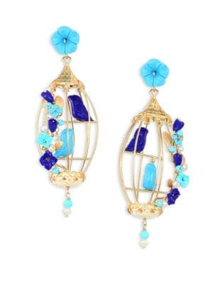 Lovebirds Lapis, Turquoise, Horn & Freshwater Pearl Drop Earrings