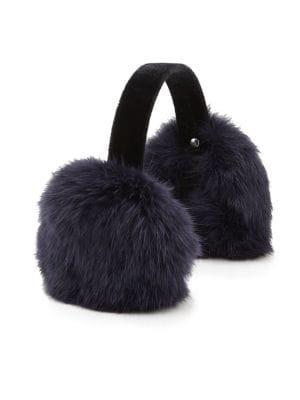 Girl's Rabbit Fur & Velvet Earmuffs