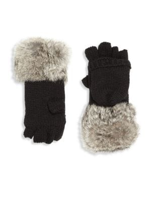 Kid's Rabbit Fur-Trim Convertible Mittens