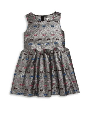 Toddler's, Little Girl's & Girl's Metallic Bow Jacquard Fit & Flare Dress