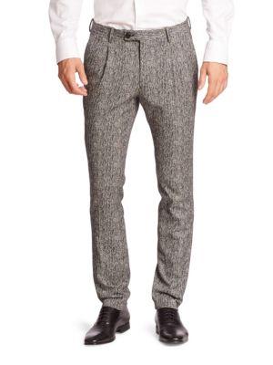 Herringbone Pleated Trousers