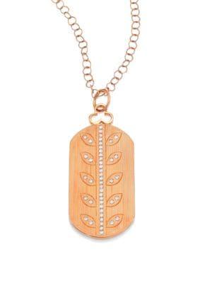 DEVON WOODHILL Vine Diamond & 18K Rose Gold Modern Dog Tag Locket