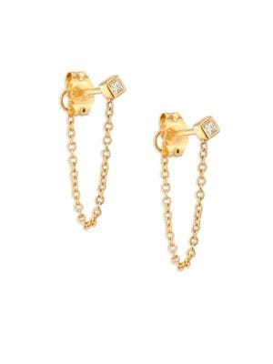 Diamond & 14K Yellow Gold Front Back Stud Earrings