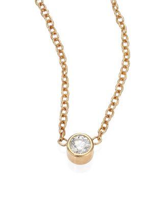 Diamond & 14K Yellow Gold Pendant Necklace