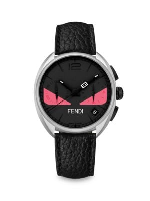 FENDI BUG CHRONOGRAPH LEATHER STRAP WATCH, 40MM, BLACK