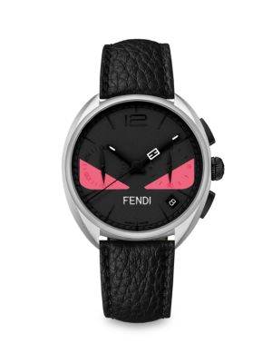 Momento Fendi Bug Black, Stainless Steel & Leather Strap Watch