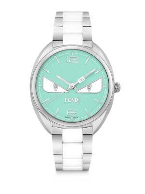 FENDI Momento  Bug Diamond, Stainless Steel & Turquoise Ceramic Bracelet Watch, Na