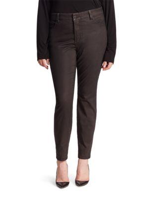 Alina Faux Leather Coated Legging Jeans plus size,  plus size fashion plus size appare