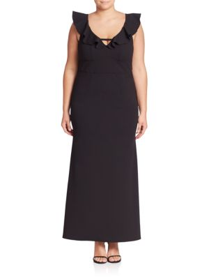 Deep V-Neck Ruffle Gown by ABS, Plus Size