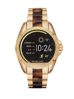 Michael Kors AccessBradshaw Goldtone Stainless Steel & Tortoise Acetate Touchscreen Smartwatch