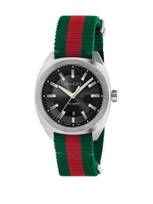 gucci male stainless steel nylon web watch