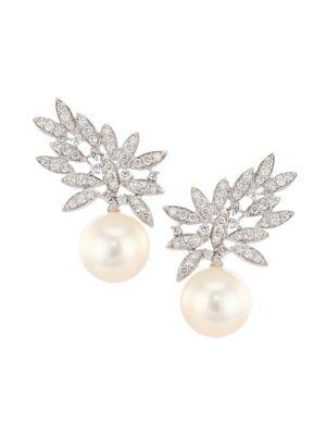 Gala 18K White Gold, Diamond & 6MM Round Pearl Drop Earrings