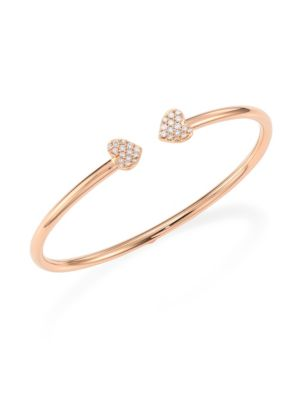 Hearts Diamond & 18K Rose Gold Open Bangle