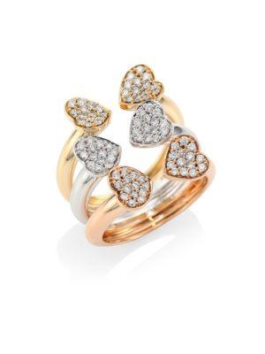 Hearts Diamond & 18K Tri-Tone Gold Open Ring