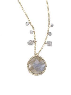Diamond, Blue Labradorite, 14K Yellow & White Gold Pendant Necklace