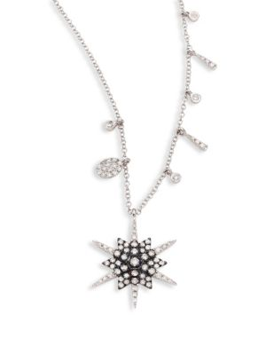 Star Diamond & 14K White Gold Pendant Necklace