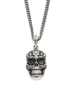 Sterling Silver Carved Baroque Skull Pendant Necklace