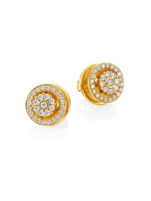 Diamond & 18K Yellow Gold Stud Earrings