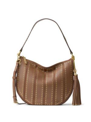 michael michael kors female  brooklyn medium grommeted leather hobo bag
