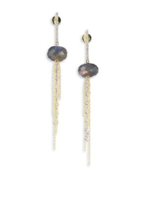 Diamond, Blue Labradorite, 14K Yellow & White Gold Drop Earrings