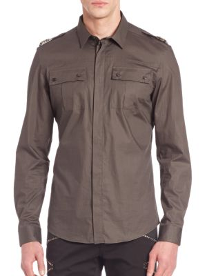 Solid Cotton Blend Shirt