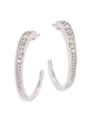 Triplicity Diamond & 18K White Gold Hoop Earrings/0.75""