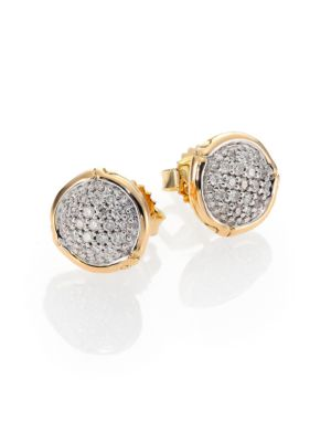 Bamboo Small Diamond & 18K Yellow Gold Round Stud Earrings
