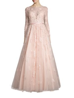 Illusion Embellished Tulle Gown