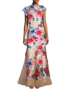 Floral Applique Mermaid Gown
