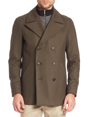 Double-Breasted Cashmere Blend Peacoat