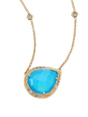 Partial Pavé Diamond, Blue Opal & 14K Yellow Gold Teardrop Necklace