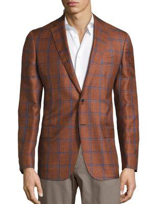 Windowpane Wool & Silk Blend Sportcoat