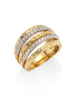 Classic Chain Diamond & 18K Yellow Gold Five-Row Ring