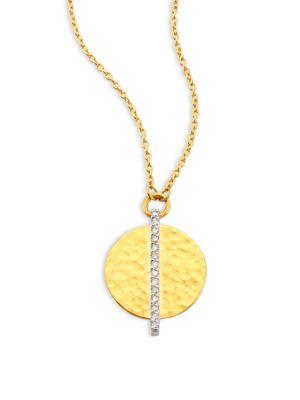 Lush Diamond Small 24K Yellow Gold Pendant Necklace