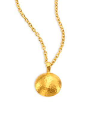 Lentil Medium 24K Yellow Gold Pendant Necklace